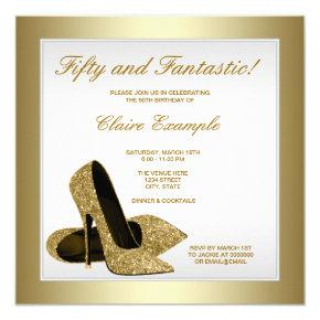 White and Gold High Heels Womans 50th Birthday Invitations