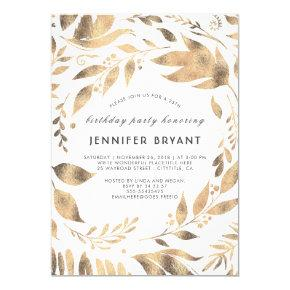 White and Gold Leaves Laurel Fall Birthday Party Invitation