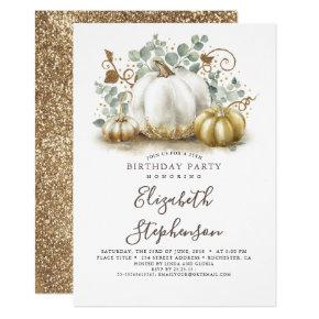 White and Gold Pumpkins Fall Harvest Birthday Invitation