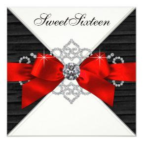 White Diamonds Black Red Sweet 16 Birthday Party Card