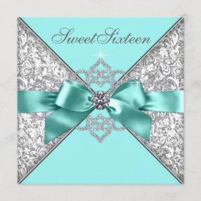 White Diamonds Teal Blue Sweet 16 Birthday Party Invitation
