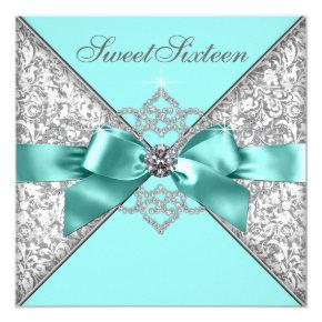 White Diamonds Teal Blue Sweet 16 Birthday Party Invitation