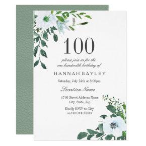 White Floral Greenery 100th Birthday Invitation