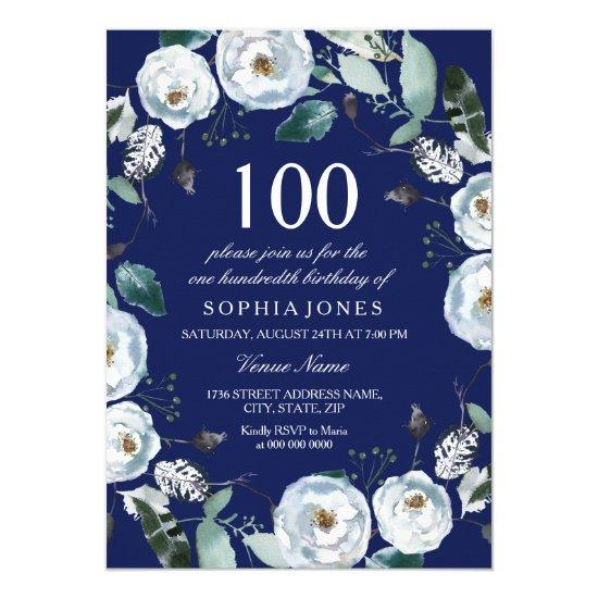 White Floral Navy Blue 100th Birthday Invitation Customize