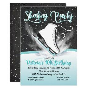 White Ice Skating Birthday Party Snow Invitations