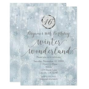 White Ice Snowflakes Winter Wonderland Invitations