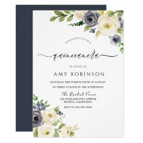 White & Navy Elegant Watercolor Quinceanera Party Invitation