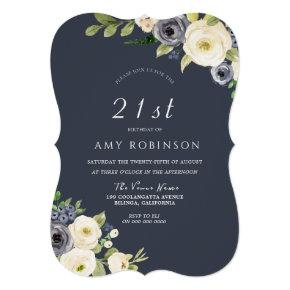 White & Navy Flowers Beautiful 21st Birthday Party Invitation
