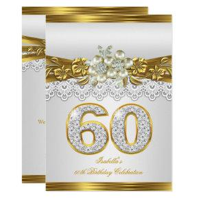 White Pearl Gold Lace Floral 60th Birthday Party Invitation
