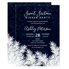 White pines stars navy blue watercolor Sweet 16 Invitation