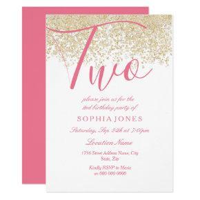 White Pink Gold Glitter 2nd birthday party Invite