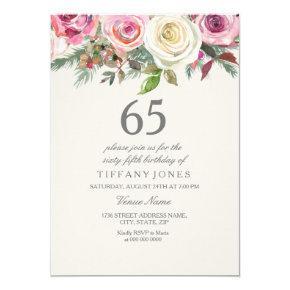 White Rose 65th 66th 67th 68th 69th Birthday Invitations