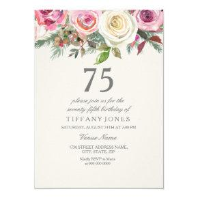 White Rose 75th 76th 77th 78th 79th Birthday Invitations