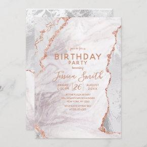 White & Rose Gold Agate Marble Foil Birthday Party Invitation