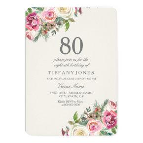 White Roses Womans 80th Birthday Party Invite