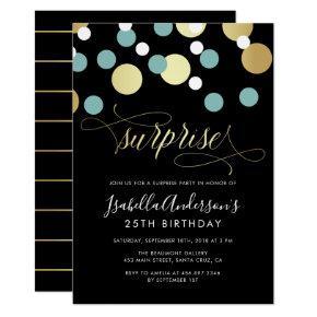 White Teal Gold Confetti Surprise Party Invitation