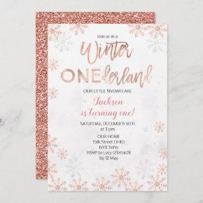 White Winter Onederland First Birthday Invite