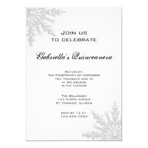White Winter Snowflake Quinceanera Invitation