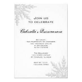 White Winter Snowflake Quinceanera Invitation