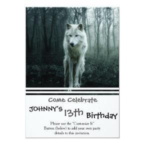 White wolf - arctic wolf - snow wolf invitation