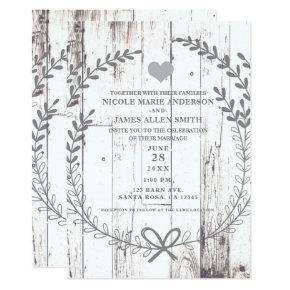 White Wood Rustic Farmhouse Country Wedding Card