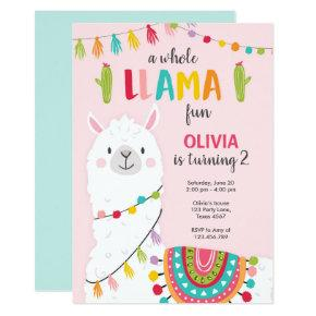 Whole llama fun birthday Invitations Alpace Fiesta