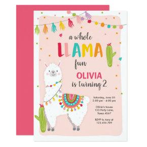 Whole llama fun birthday invitation Alpace Fiesta