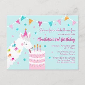 Whole Llama Fun Cake 3rd Birthday Aqua Invitation Post