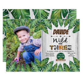 Wild and free 3rd birthday party photo Invitations
