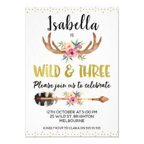 Wild And Three Antlers 3rd Birthday Invitations