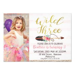 Wild And Three Girls Photo 3rd Birthday Invitations