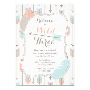 Wild and Three Tribal Arrows Third Birthday Party Card