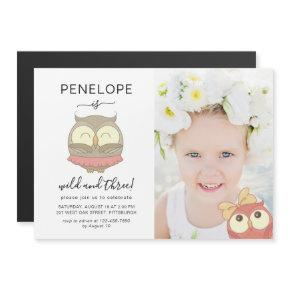 Wild and Three Whimsical Owls Photo Birthday Party Magnetic Invitation