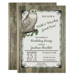 Wild and Woodsy Owl Rustic Birthday Party for Him Invitation