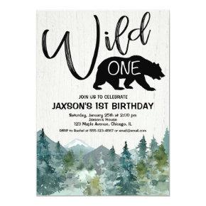 Wild one 1st birthday boy rustic mountains forest invitation
