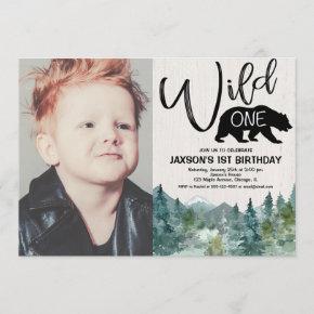 Wild one 1st birthday boy rustic outdoors photo invitation
