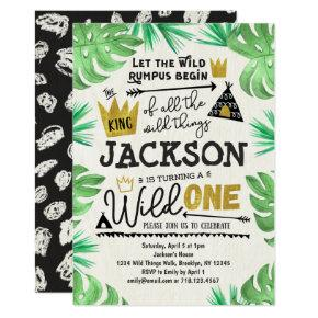 Wild ONE 1st Birthday Invitation Boy Wild Things