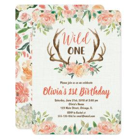 Wild one 1st birthday invitation girl deer antlers