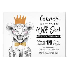 Wild One 1st Birthday Invitation Jungle lion