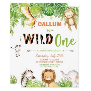 Wild One 1st Birthday Jungle Animals Boy Invitation