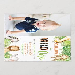 Wild One 1st Birthday Jungle Animals Boy Photo Invitation