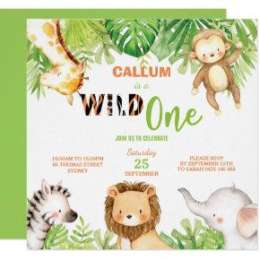 Wild One 1st Birthday Jungle Animals Boy Square Invitation