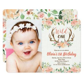 Wild one 1st birthday photo invitation deer antler