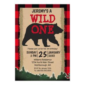 Wild One Bear Red Buffalo Plaid 1st Birthday Invitation