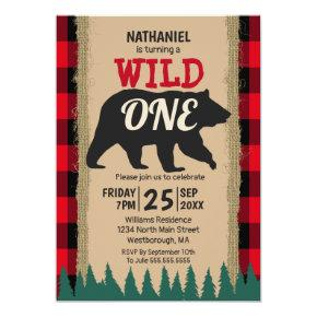 Wild One Bear Rustic Buffalo Plaid 1st Birthday Invitation