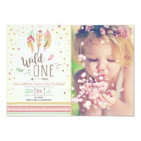 Wild one Birthday Girl Pink Gold 1st Boho Feathers Invitations