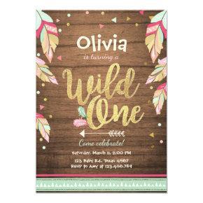Wild One birthday Invitations First birthday Girl