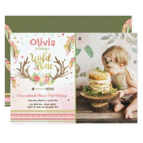 Wild One birthday Invitations First birthday Girl