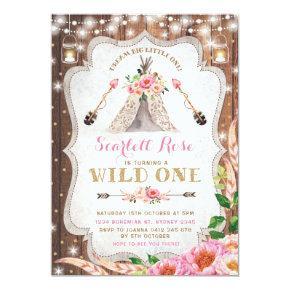 Wild One Birthday Invitations Floral Boho Teepee