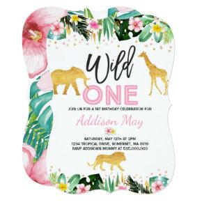 Wild One Birthday Invitations Jungle Animals Party